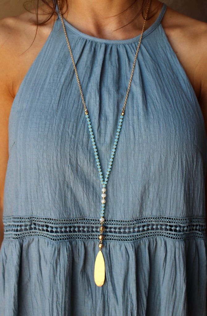 Baby Blue Drop Necklace