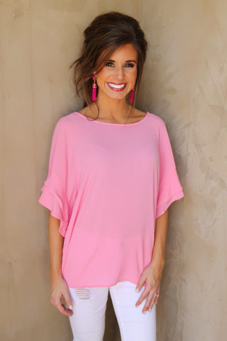 Tickled Pink Ruffle Sleeve Top