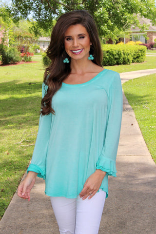 Aqua Washed Tee With Ruffle Details