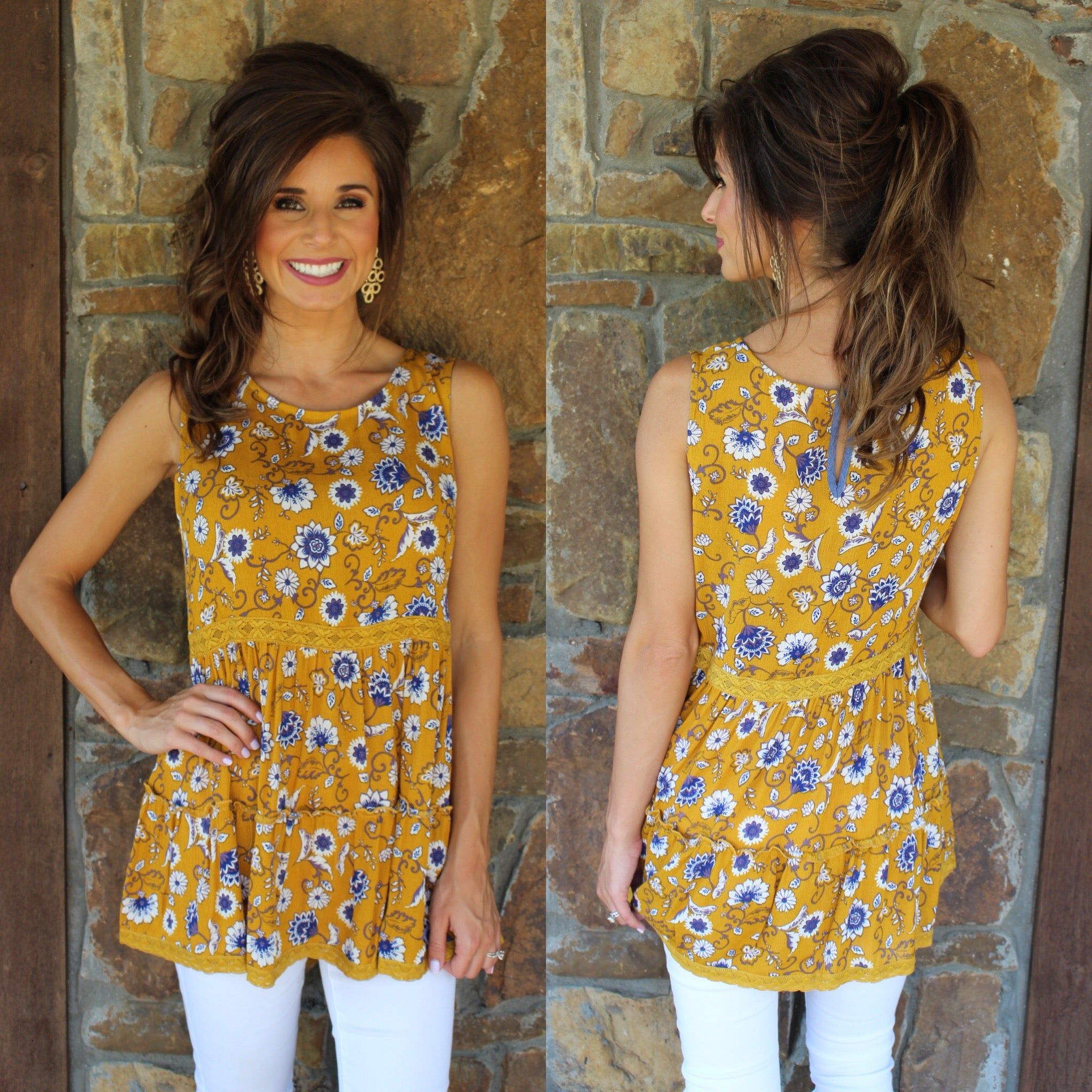 Be Bright Mustard Print Top