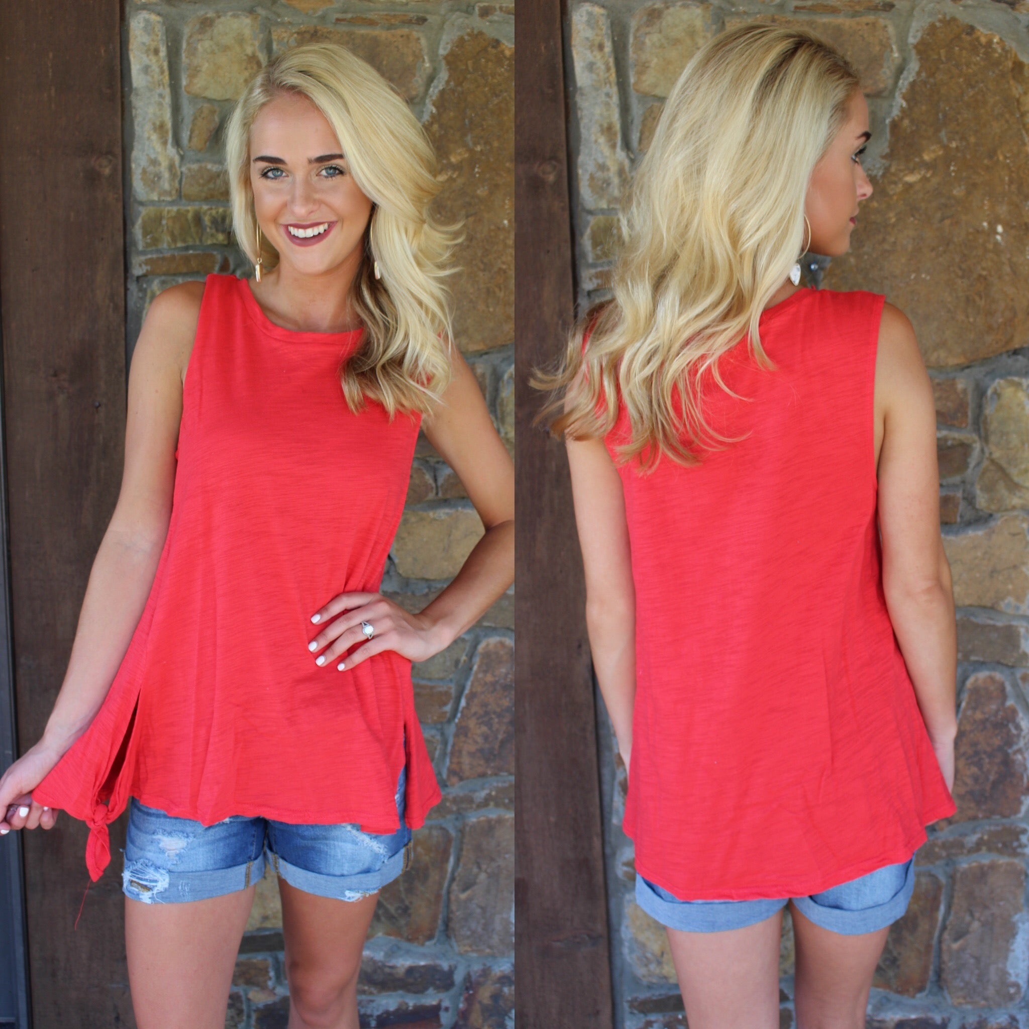 Red Sleeveless Top With Side Detail