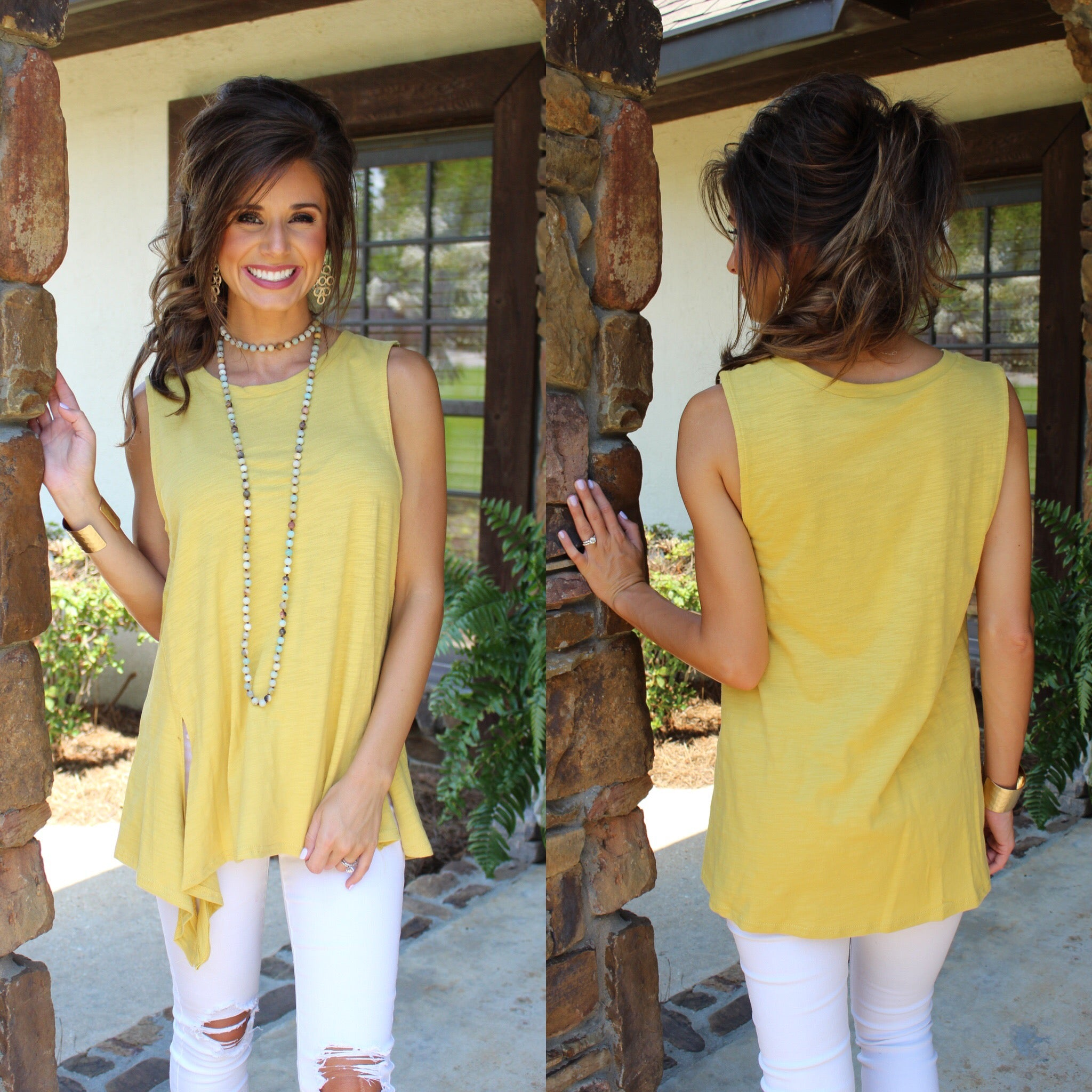 Honey Sleeveless Top With Side Detail