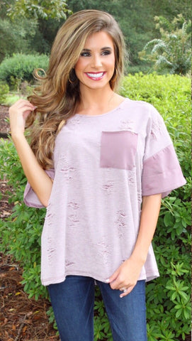 Alter Ego Mauve Distressed Top
