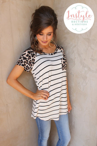 Leopard and Stripes Pocket Tee