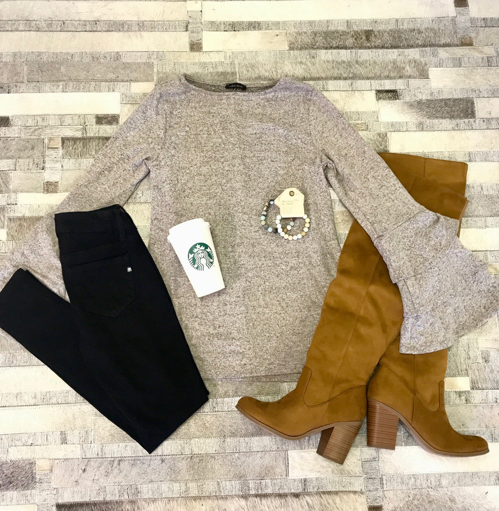 Taupe Double Ruffle Sleeve Sweater