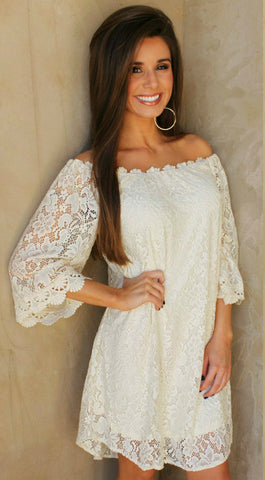 Lovely in Lace Ivory Off Shoulder Dress