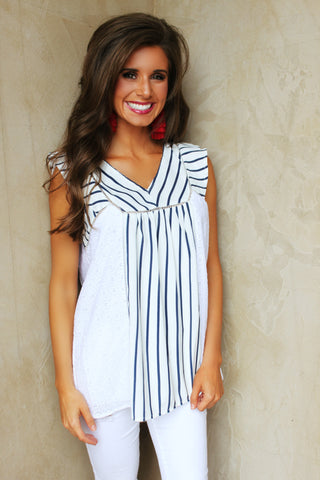 Bayside Vacay Navy Striped Top ~PRE ORDER~