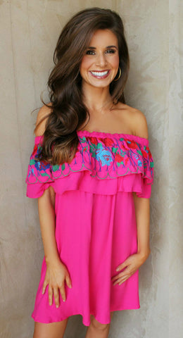 Bright Pink Embroidered Ruffle Dress ~PRE ORDER~