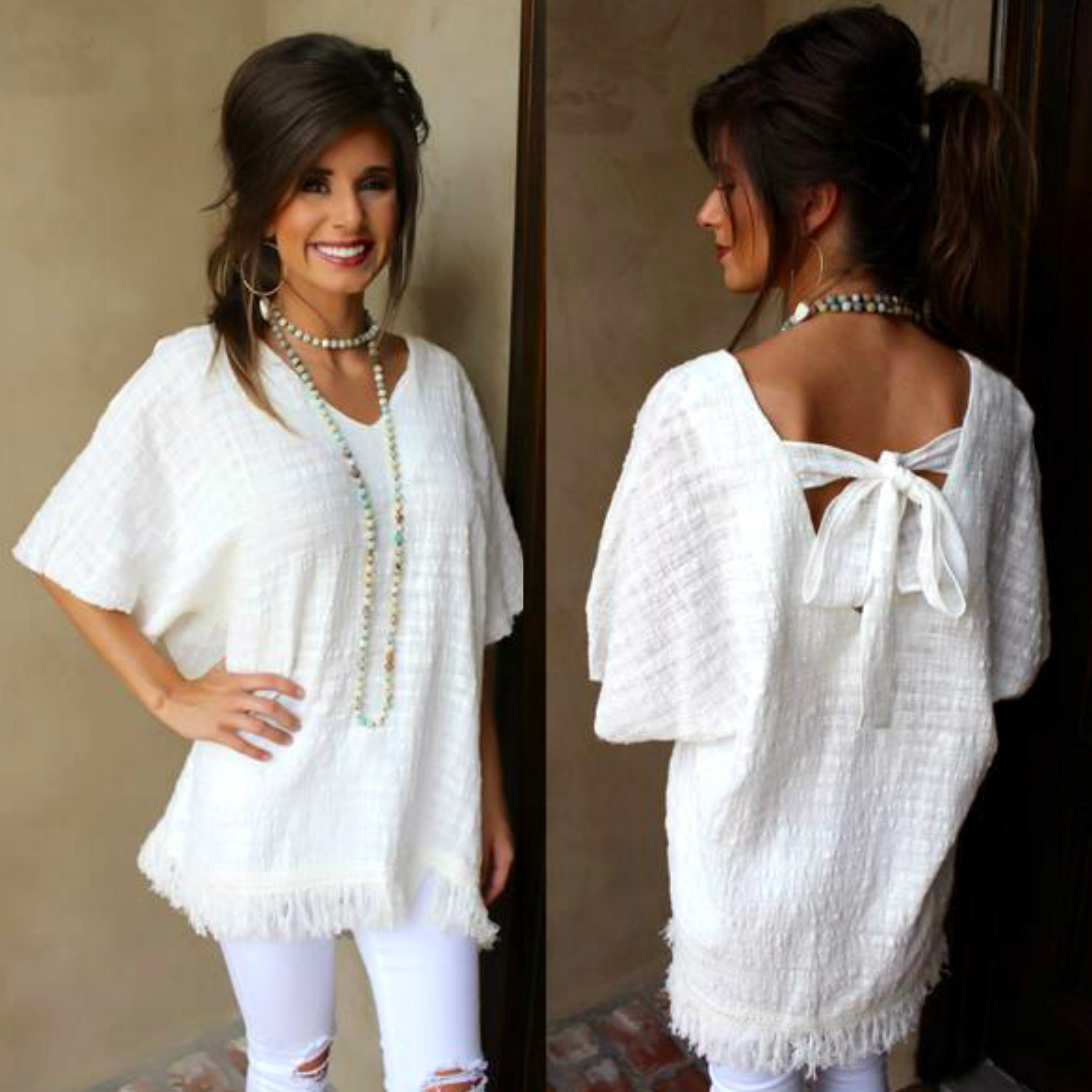 Off White Tie Back Top With Fringe Trim