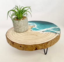 Load image into Gallery viewer, Wood with metal legs and resin ocean waves