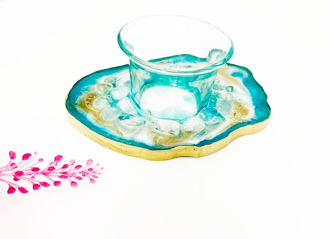 Tea light candle holder - Turquoise