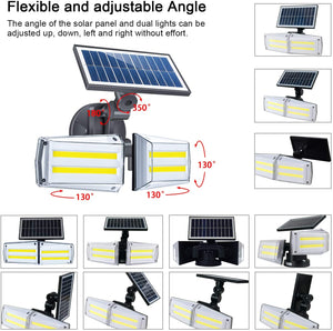 Hardoll Automatic Motion Sensor LED COB Solar Rotatable Twin Lights for Home Outdoor Wall