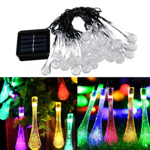 Multicolour LED Solar Decorative Water drop String Lights for Home | Hardoll Enterprises