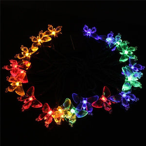 Hardoll 30 LED Solar String Light for Home Garden Decorative Butterfly Shape Outdoor Waterproof Lamp (20Ft, Multicolour)