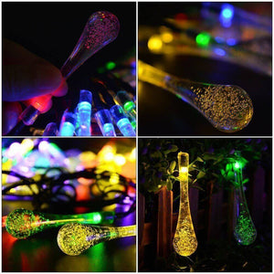 Hardoll® (Pack of 2)30 LED 20ft Multi color Waterdrop Solar Diwali led lights decoration lamp for home