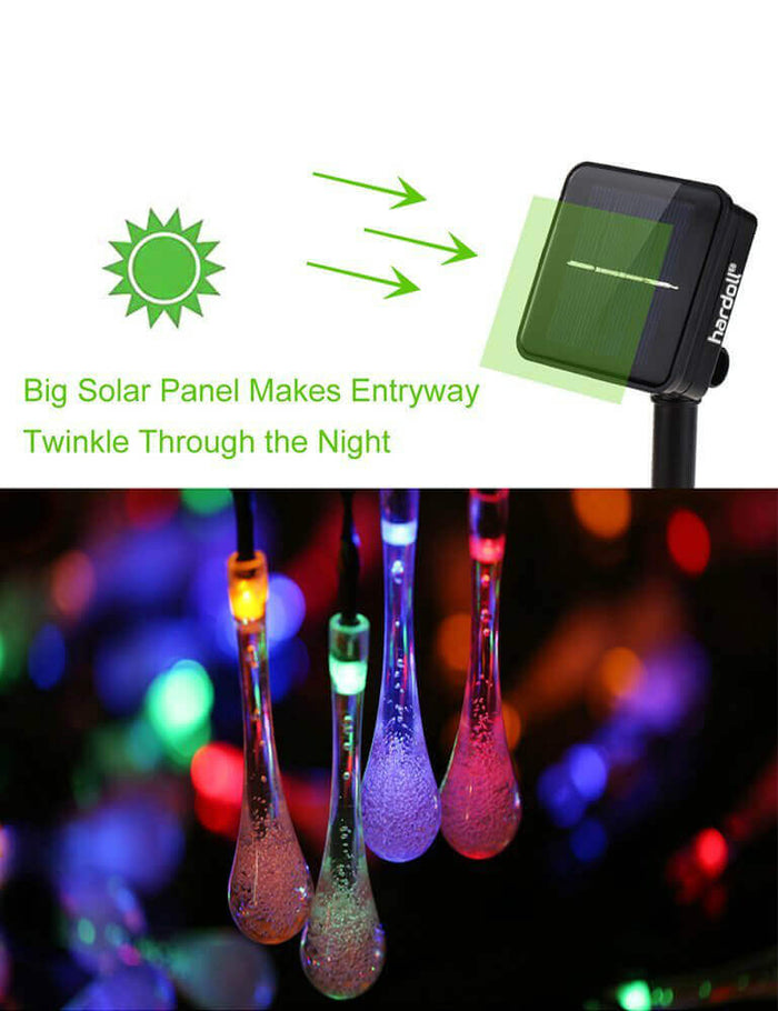 Hardoll® 30 LED 20ft Multi color Waterdrop Solar Waterproof Lights for Garden, Home, Outdoor