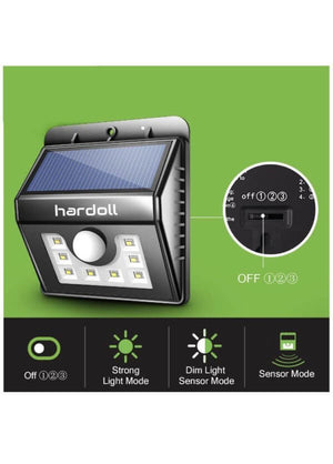 Hardoll 8 LED Solar Lamp Outdoor Motion Sensor Security waterproof lights for Home Garden
