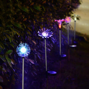 Hardoll Solar Lights for Outdoor Home Garden Decoration Waterproof LED Lamp Dandelion, Lily, Sun Flower Stake Lights (Pack of 3)