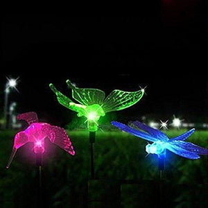 Hardoll Solar Lights For Home Garden Outdoor Stake Bird Lamp (Pack of 3, RGB)