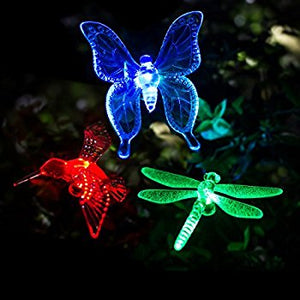 Hardoll Solar Lights For Home Garden Outdoor Stake Bird Lamp (Pack of 3, RGB) Refurbished