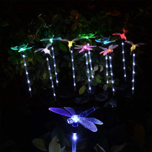 Hardoll Solar Garden Light, Hummingbird, Butterfly Dragonfly Stake Outdoor Lights, Multi Color 6 Led Lights (Set Of 3) Refurbished