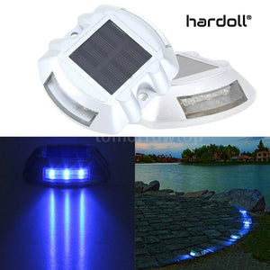 Hardoll Solar Road Stud Light Reflectors for Home 6 LED Lamp Waterproof Step Pathway Lights for Security Driveway and Outdoor for Garden (Blue)