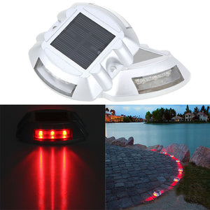 Hardoll Solar Road Stud Light Reflectors 6 LED Lamp Waterproof Step Pathway Lights for Driveway and Outdoor(RED Flashing)