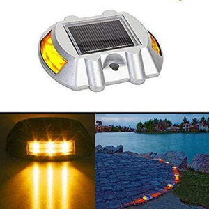 Hardoll Solar Road Stud Light Reflectors 6 LED Lamp Waterproof Pathway Lights for Outdoor for Garden (Yellow Flashing-Refurbished)