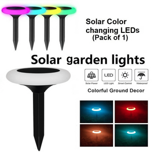 Hardoll Solar Decorative Lights for Home Garden Outdoor Color Changing Disk Shaped Waterproof LED Lamp (Refurbished)