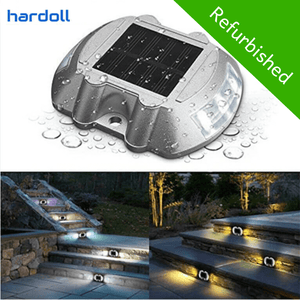 Hardoll Solar Road Stud Light Reflectors for Home 6 LED Waterproof Step Pathway Lights for Driveway and Outdoor for Garden (Faded Glass-Refurbished)