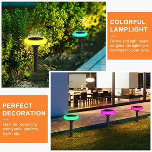 Hardoll Solar Decorative Lights for Home Garden Outdoor Color Changing Disk Shaped Waterproof LED Lamp