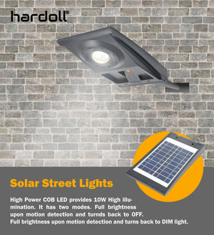 Hardoll Solar Street Lights with 10W COB LED For Home Garden Outdoors with Microwave Radar Motion Sensor Waterproof Lamp (Refurbished)
