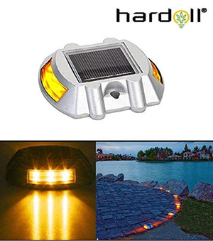 Hardoll Solar Road Stud Light Reflectors for Home 6 LED Lamp Waterproof Step Pathway Lights for Driveway and Outdoor for Garden (Yellow Flashing)