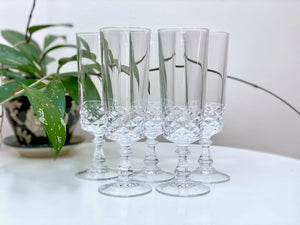 Crystal champagne flute glasses (x5)