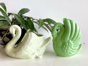 Various swan planters [sold separately]