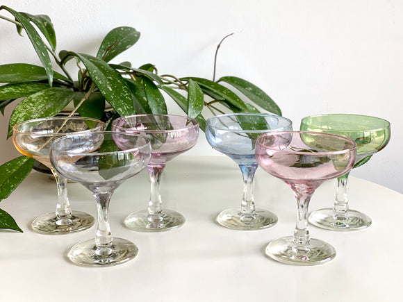 Crown Crystal Glass (Australia) 'Harlequin' champagne coupe glasses (x6)