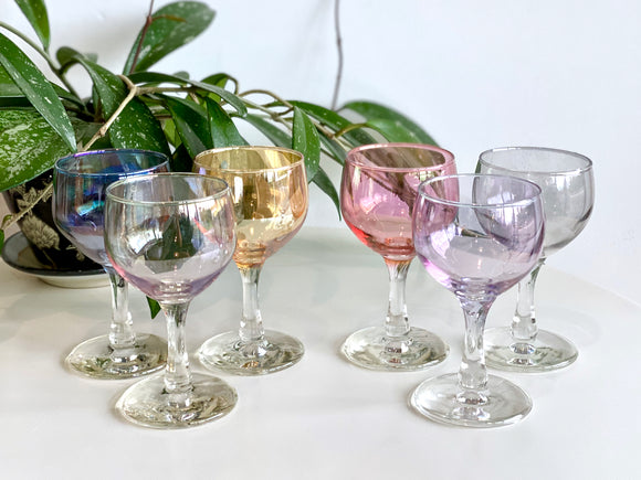 Crown Crystal Glass (Australia) 'Harlequin' wine glasses (x6)