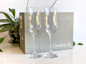 Orrefors (Sweden) 'Claire' crystal white wine glasses (x2) - - original packaging!
