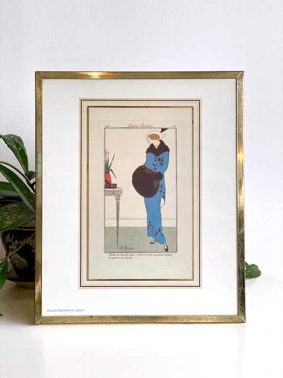 Vintage framed French fashion print / Kary H. Lasch