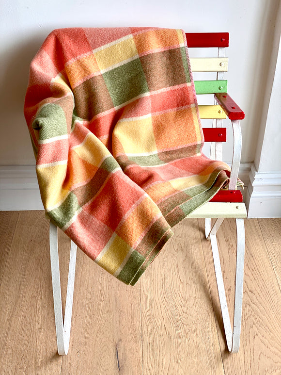 Vintage plaid Australian wool blanket - salmon, olive, lemon
