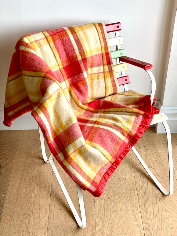 Vintage plaid Australian wool blanket - coral, lemon, cream