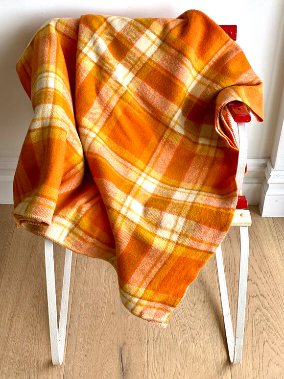 Vintage plaid Australian wool blanket - orange, caramel, ivory