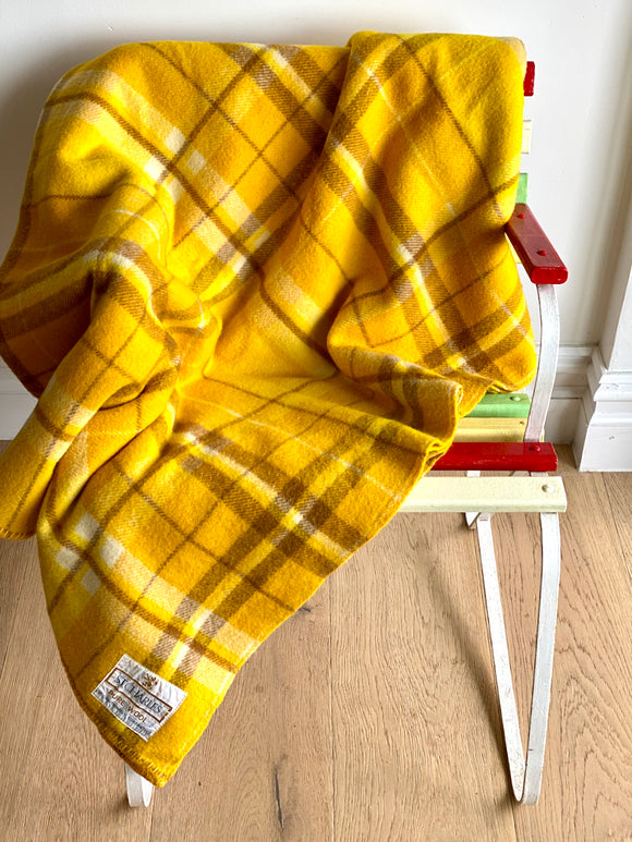 Vintage plaid Australian wool blanket - golden yellow, chocolate brown