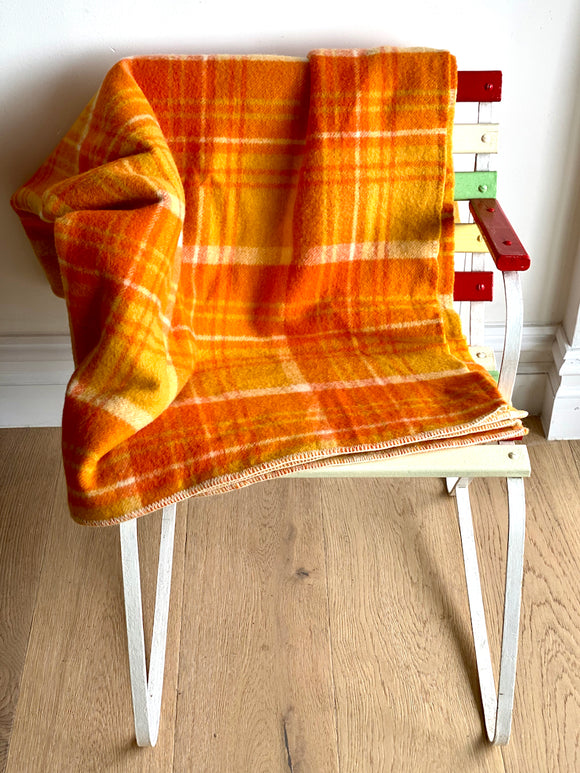 Vintage plaid Australian wool blanket - shades of orange