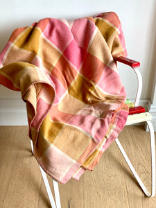 Vintage plaid Australian wool blanket - neopolitan - strawberry, chocolate, vanilla