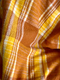 Vintage plaid Australian wool blanket - golden yellow, dark caramel