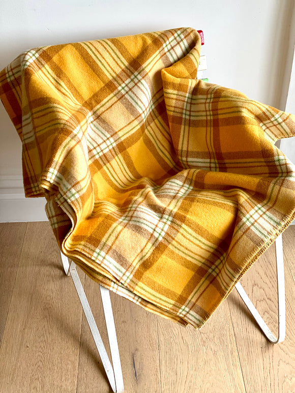 Vintage plaid Australian wool blanket - light orange, caramel, olive