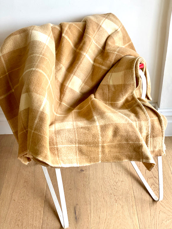 Vintage plaid Australian wool blanket - caramel, milk coffee, ivory