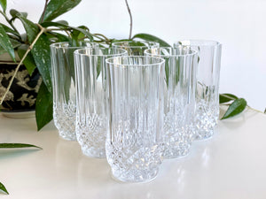 Cristal D'Arques-Durand (France) 'Longchamp' crystal highball glasses (x6)