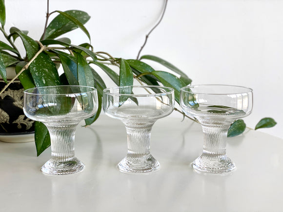 Crown Corning (Australia) 'Oslo' champagne coupe glasses (x3)